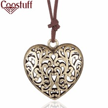 Vintage Bronze Big Heart Pendant Love Genuine Leather Necklaces Men Women Jewelry Necklace