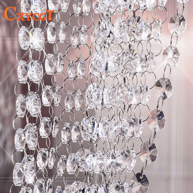5m 14mm Garland Diamond K9 Crystal Octagonal Beads Curtain Bead Pendant Lighting for Pendant DIY Home Decoration