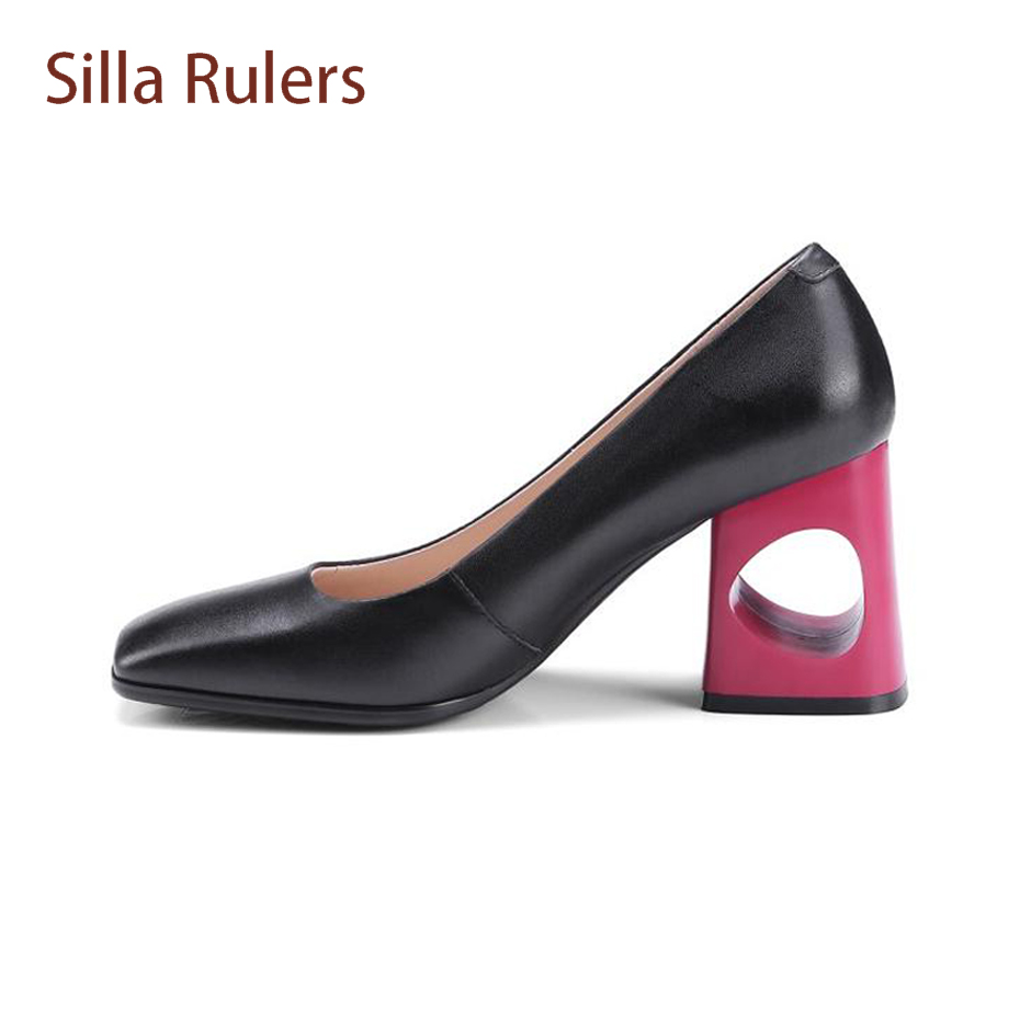 Silla Rulers Euramerican Fashion Hollow Out High Heel Shallow Shoes Square Toe Women Pumps Mixed Color Real Leather Dress Shoes