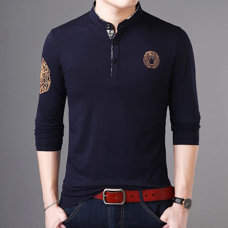 2019 New Fashion Brand Polo Shirt Mens Stand Collar Trends Tops Street Wear Mercerized Cotton Long Sleeve Polos Mens Clothing