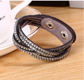 2016 Rhinestone crystal bling double wrap bracelets suede leather wrap bracelet wristband crystal charm chokers  2pcs/lot