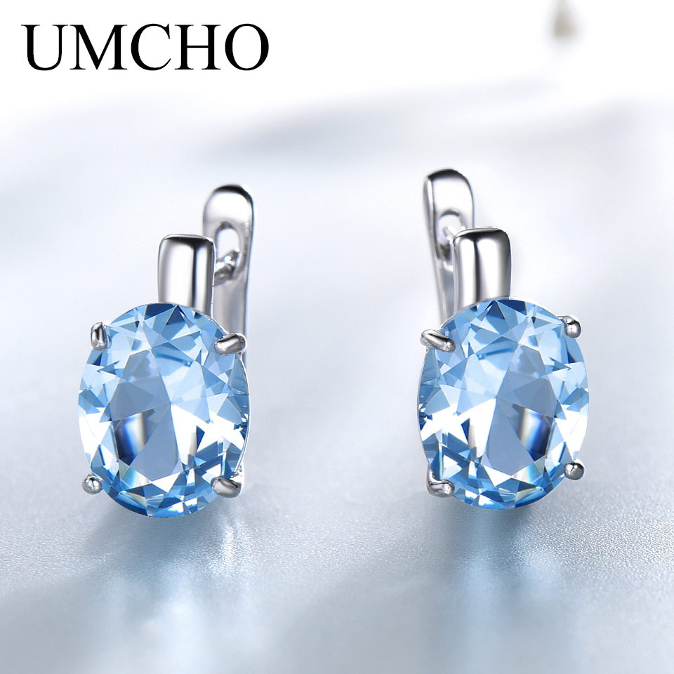 UMCHO Oval Nano Sky Blue Topaz Colorful Gemstone Clip Earrings Solid 925 Sterling Silver Earrings For Lady Wedding Gift Jewelry