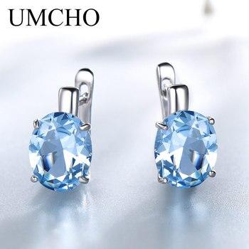 4fcf831d3 UMCHO Oval Nano Topacio azul cielo de piedras preciosas de colores  pendientes de Clip pendientes largos aretes pendientes de plata de ley 925 para  mujer ...