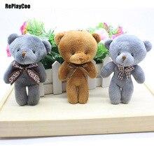 50pcs/lot Kawaii Small Teddy Bears With Bow Stuffed Plush 12CM Toy Teddy-Bear Mini Bear Ted Bears Plush Toys Wedding Gifts 0802