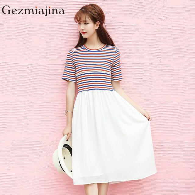 2c992228632b Nuovo stile di estate donne incinte vestiti con maniche corte vestito di  cura di maternità stripe