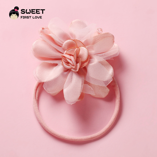 1PCS Floral Headband Kids Chiffon Flower Nylon Head Bands For Newborn Elastic Hair Band Headwear Hair Accessories