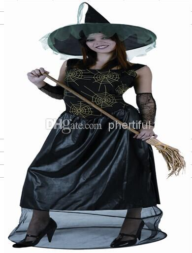 Wholesale - 2016 Sexy Style Halloween Cosplay Costume Party Clothing for Women woven fabric costumes dress black wizard with hat