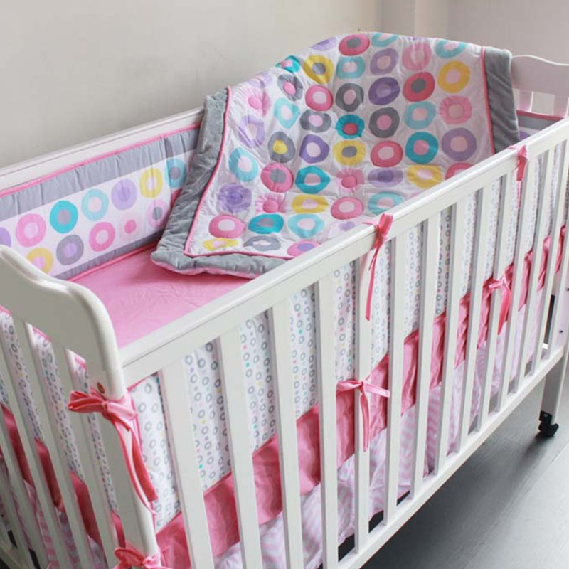 7 Pcs 100% Cotton Baby Cot Bedding Set Newborn Cartoon Circle Crib Bedding Detachable Quilt Pillow Bumpers Sheet Cot Bed Linen ...