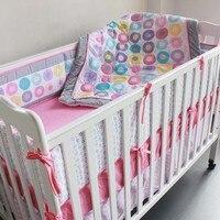7 Pcs 100% Cotton Baby Cot Bedding Set Newborn Cartoon Circle Crib Bedding Detachable Quilt Pillow Bumpers Sheet Cot Bed Linen