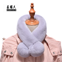 QIUMEIREN 2018 New Natural Real Rabbit Fur Scarf 9*70cm Women Collar Neck Warm Scarves Female Winter Wrap Solid color