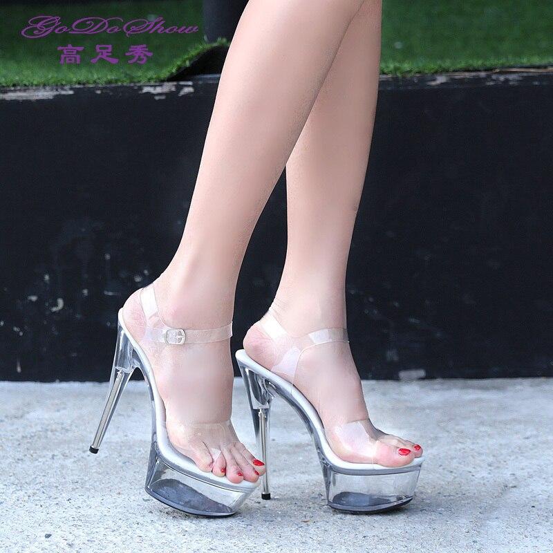 Hot style sexy super high heels 12-15cm fine heels with waterproof platform sandals, transparent crystal shoes wedding shoes 2016 amoi sexy super high heels 15 cm transparent glass slipper shoes banquet fashion platform sandals red