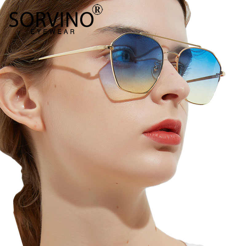 2ef19540ff67b SORVINO 2018 Retro Slim Wire Square Sunglasses Women Brand Designer  Geometric Crystal Hexagon Lady 90s Sun