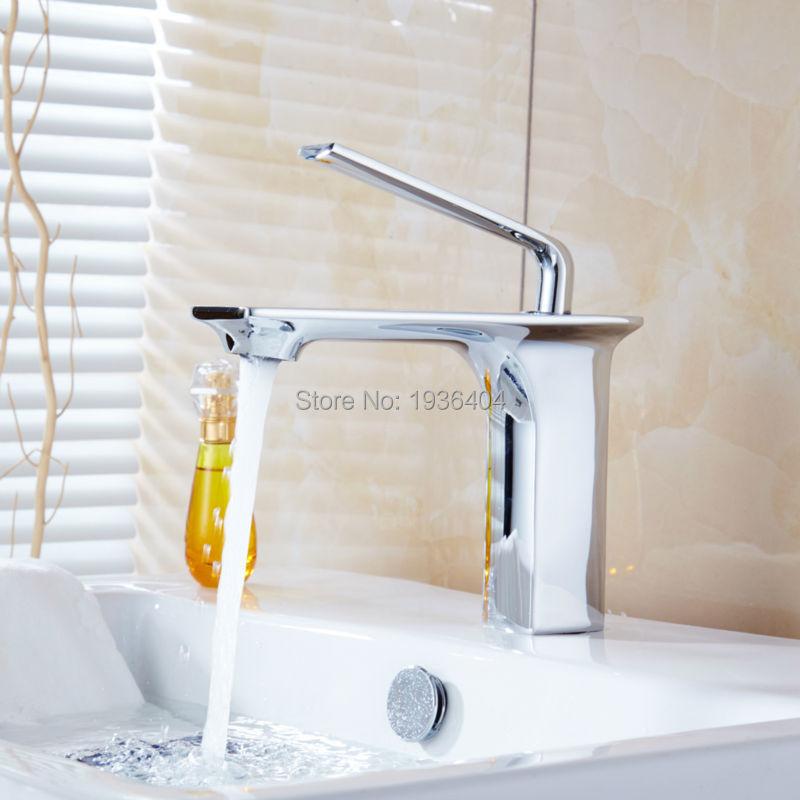 Modern Touch on Single Handle Chrome Bathroom Sink Faucet Basin Mixer Tap  Deck Mounted 1172C freeshipping new modern single handle modern chrome bathroom vessel sink lavatory basin faucet mixer tap