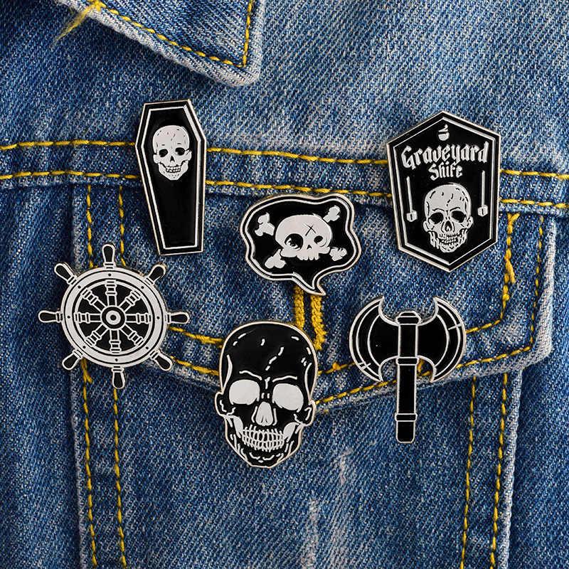 Броши черный гроб череп руль боевой топор Броши Металлический Эмалированный значок иконы на одежде футболка одежда сумка рюкзак DIY