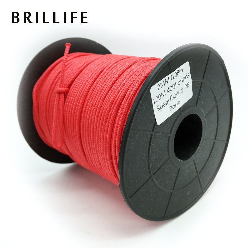 ФОТО 100m 2mm 180kg white/red Spearfishing Line 16 Strands Braided Rope 400LB PE Cord For Underwater Spear Gun Rope