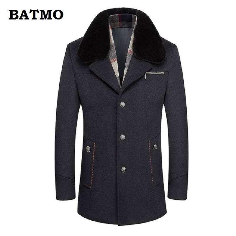 BATMO 2018 new arrival winter high quality wool thicked trench coat men,men's wool warm thicked parkas,plus-size M-6XL,A30