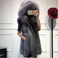 Fur Coat Female Jackets 2017 New Fashion Long Faux Fox Mink Fur Vest With Hooded Women Winter Slims Super Long Fake Fur Vests