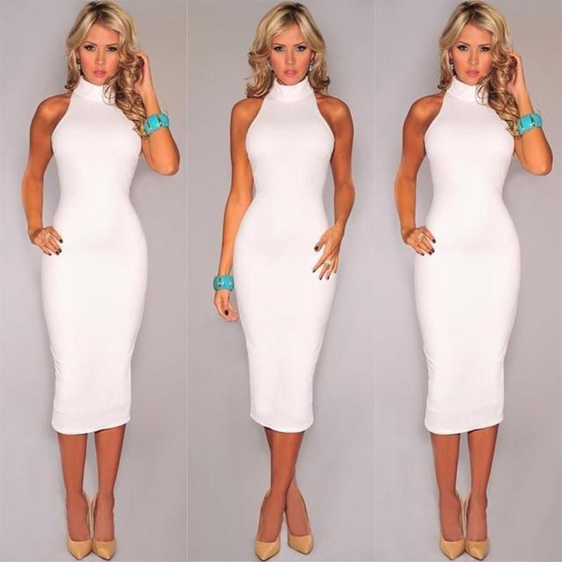 d965695b4e093 New Spring Summer Fashion Turtleneck Sleeveless Elegant Pencil Dress Women  Sexy Club Cocktail Party Bodycon Bandage Dress-in Dresses from Women s  Clothing ...