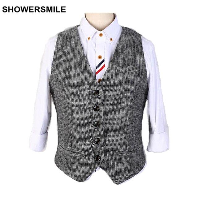 Woolen Vest Woman Spring Suit Vests V Neck Herringbone Wool V Neck Ladies Waistcoat Coffee Gray Vintage Sleeveless Jacket