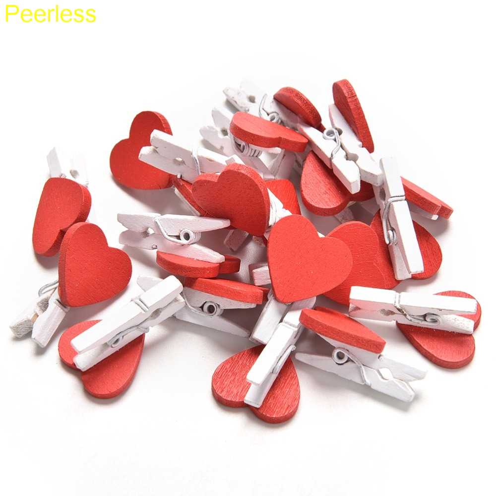 Peerless 20pcs/Pack Mini Heart Love  Clothes Wooden Photo Paper Peg Pin Clothespin Craft Postcard Clips Home Wedding Decoration