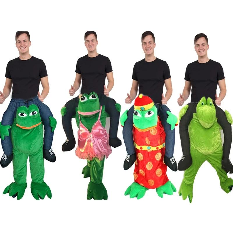 2019 Frog Ride On Mascot Costume Children Fancy Dress Kids Cosplay