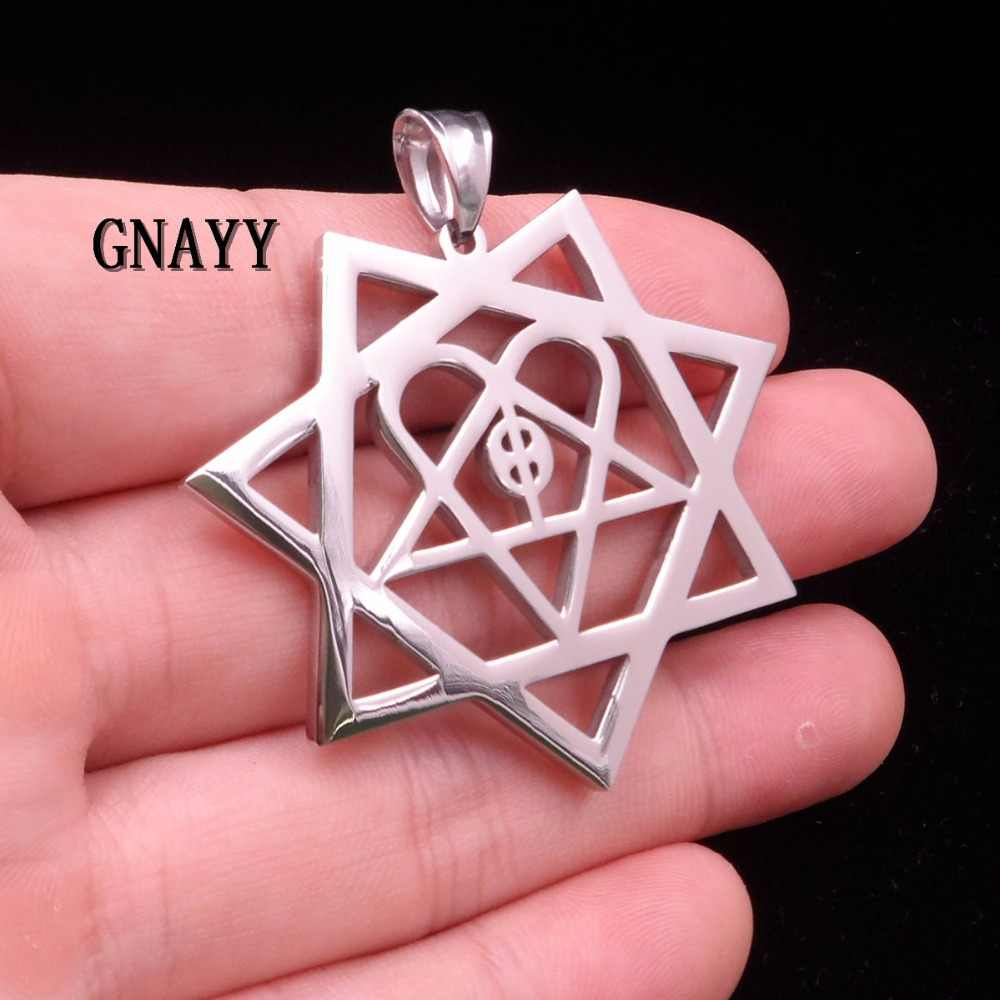 GNAYY Jewelry Large size Fashion Gifts MIP- HIM HEARTAGRAM Stainless Steel pendant w/30 inches ball chain