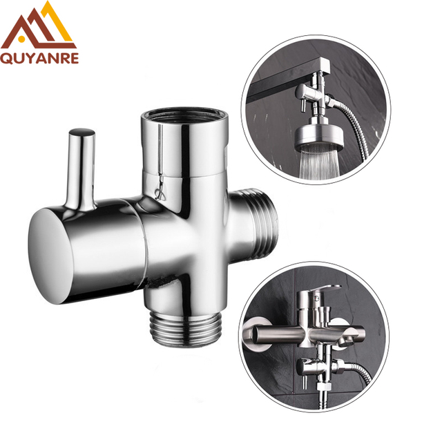 Quyanre Chrome Faucet Shower Diverter 3 Way Shower Arm Diverter 2 Functions Shower Faucet Valve for Shower Mixer Brass Body