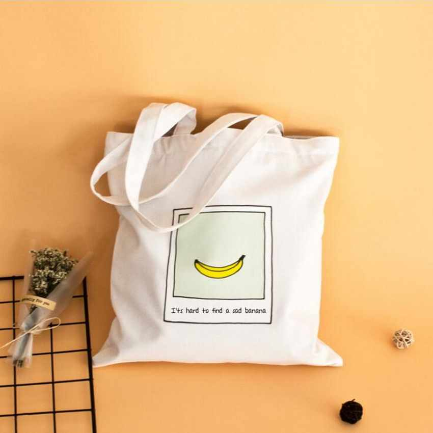 Women Shopping Canvas Shoulder Bags Fruit Printed Simple Traveling Casual bags