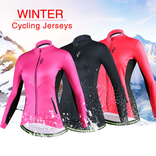 47e97cc96 Cheap CHEJI 2018 Winter Long Sleeve Women Cycling Jersey Road Bike Thermal Jacket  Pro Team Female