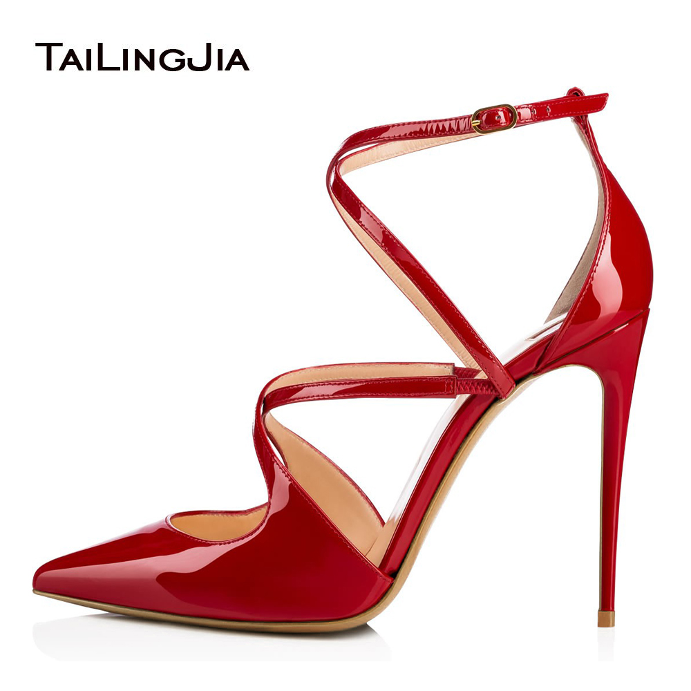Pointed Toe High Heel Strappy Pumps Red Patent Dress Shoes Women Nude Wedding  Heels Ladies Stiletto Black Summer Shoes 2018 b408ac6a699f