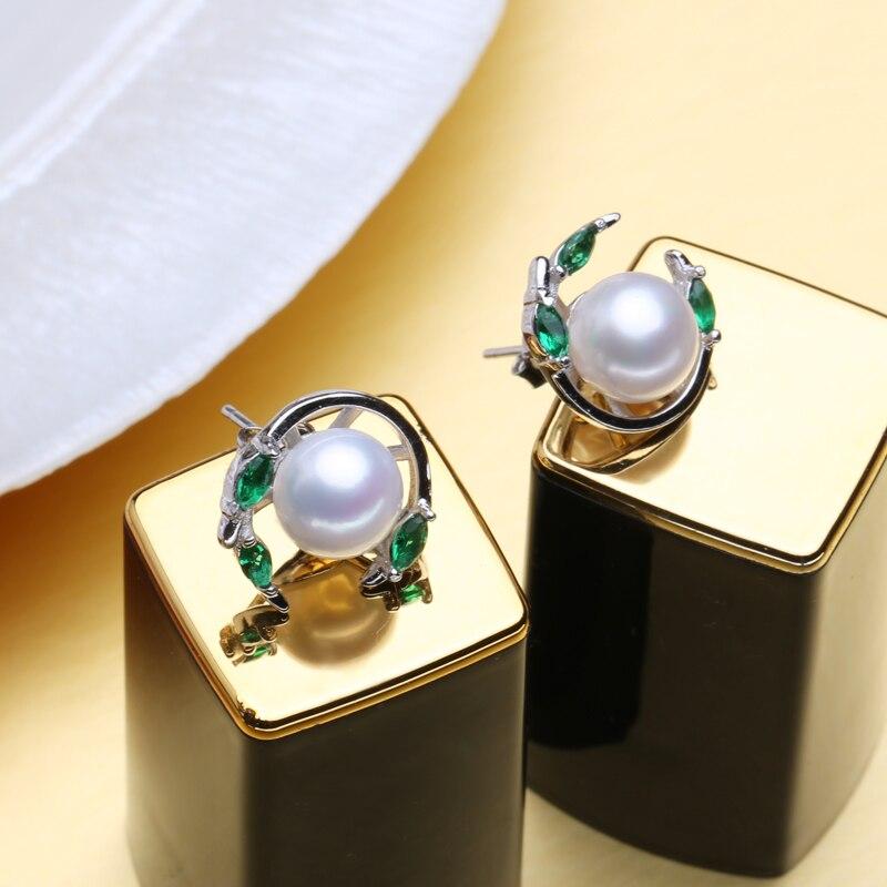 MINTHA Pendientes de perlas de esmeralda, pendientes de piedras - Joyas - foto 2
