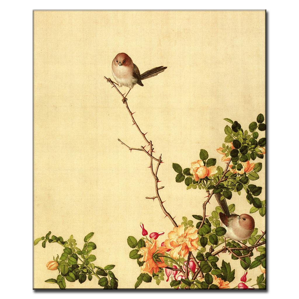 The Birds and Rose Vines Traditional Chinoiserie Classic Oil ...