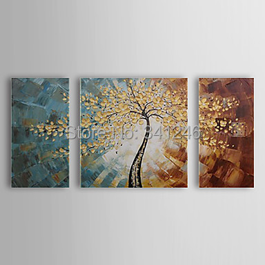 Hand painted modern home decor wall art picture Golden leaves tree thick palette font b knife