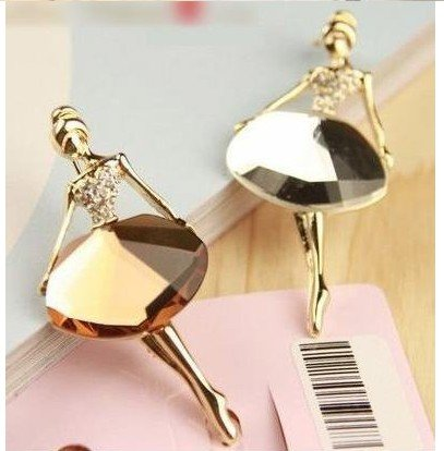 Fashion White/Brown Color Cute Dancing Girl Brooches X1