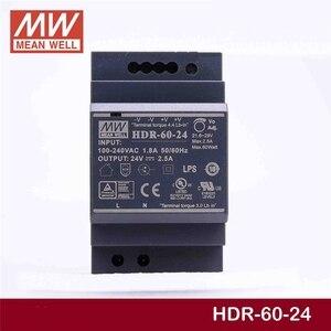 Image 2 - Sabit ortalama kuyu HDR 60 24 24V 2.5A meanwell HDR 60 60W tek çıkışlı endüstriyel DIN ray güç kaynağı [Hot6]