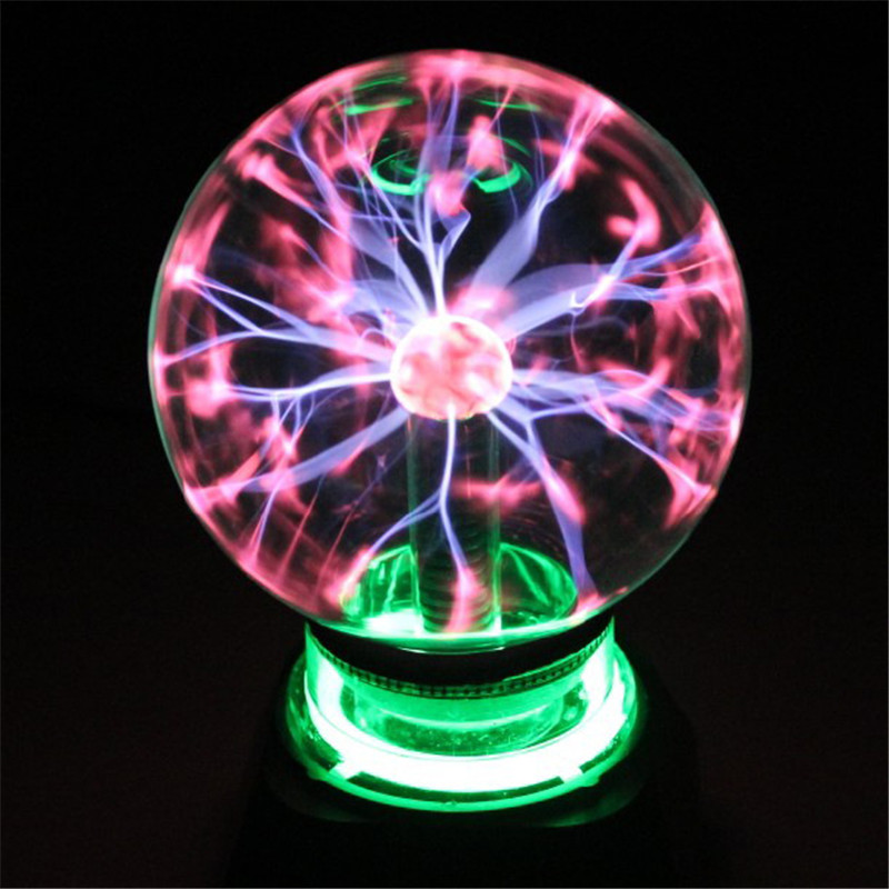 Купить с кэшбэком Magic Black Base Glass Plasma Ball Sphere Lightning Party Lamp 5 6 inch Crystal Magic Ball Purify Air Novelty Nighting Decor