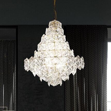Moderne Cristal Verre Lustre LOFT Européenne Lustres Lumières Montage À La Maison Éclairage Intérieur Salle À Manger Restaurant LED Lampes