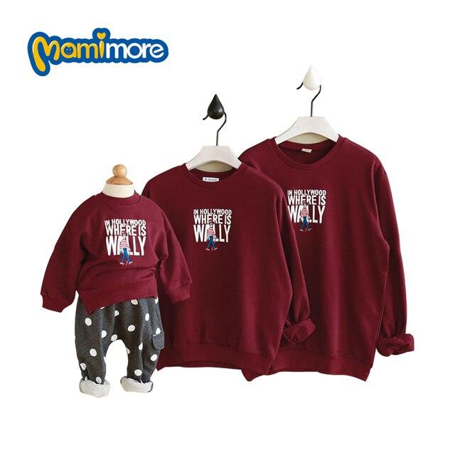 Mamimore Новых корейских Детей Хлопка Clothing Вышивка Печать Семья Установлены Осень Мода Длинным Рукавом Футболки Горячие Продажа