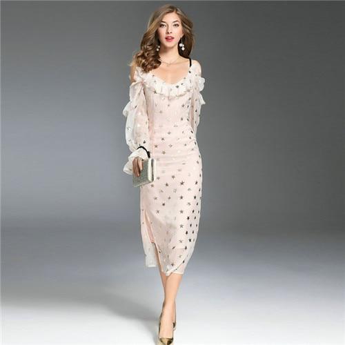 Runway Designer Dresses 2018 High Quality Elegant Fashion Sundresses Off The Shouder Long Sleeve 5