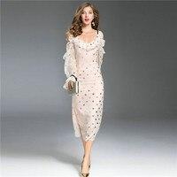 runway designer dresses runway 2018 high quality elegant fashion sundresses off the shouder long sleeve 5 gold star pink dresses