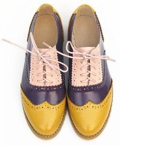 Image 4 - Delle donne scarpe oxford appartamenti epoca fatti a mano primavera estate per la donna scarpe con lacci mocassini marrone scarpe da tennis casuali scarpe basse 2020