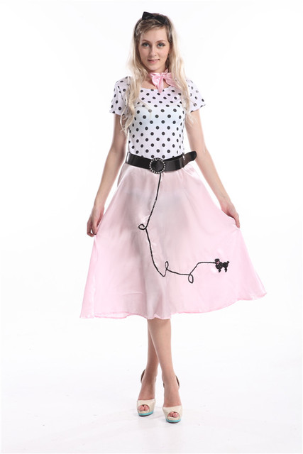 FREE SHIPPING Womens 50s Style Cute Poodle Skirt Grease Halloween Outfit Dance Dress Costume 392