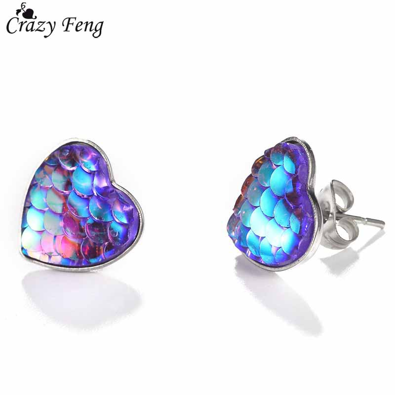 Fashion Colorful Heart Stud Earrings Party Wedding Jewelry Trendy Multicolor Mermaid Fish Scale Little Earrings Female Bijoux