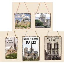 6 Styles Notre Dame De Paris Building Printed Wooden Hanging Board Plate Plaque Wall Home Decoration Souvenirs Crafts