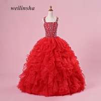 weilinsha Red Ball Gown Flower Girl Dresses 2018 New Fashion Princess Kids Pageant Dress for Wedding First Communion Dresses