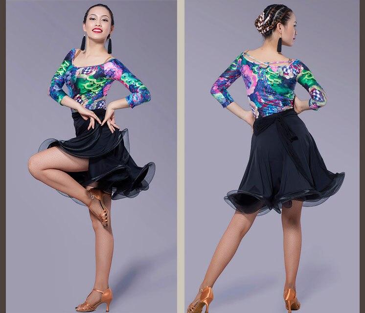 Robe de danse latine Sexy velours soyeux filles latine frange jupe de salon robe Tango robe de danse salsa robe de danse latine filles danza latino
