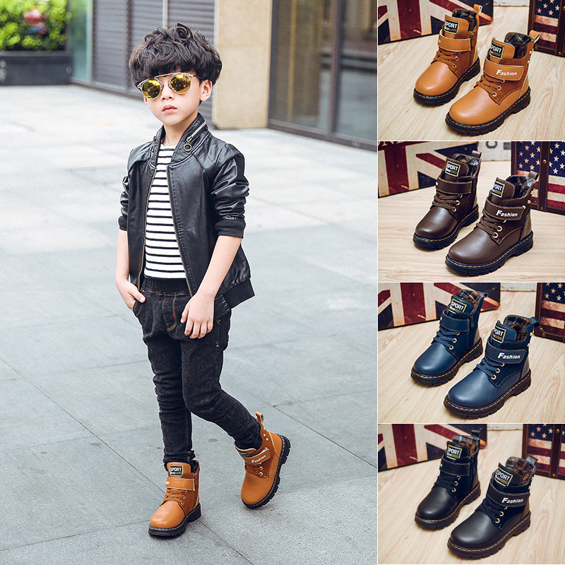 2016 winter children snow boots boys warm boots children casual shoes big boys comfortable with fur kids warm boots size 26 - 37