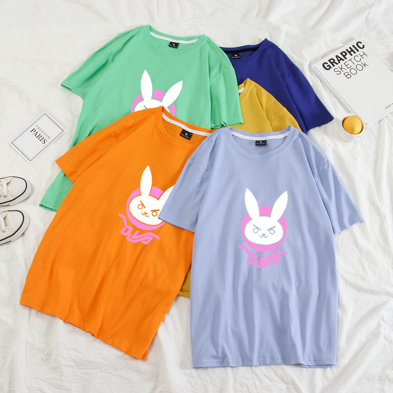 Casual New T Shirt Men Women Funny OW DVA Rabbit D.VA Logo O-Neck Printed Harajuku T-shirts Pastel Colors Plus Size Tee Shirts