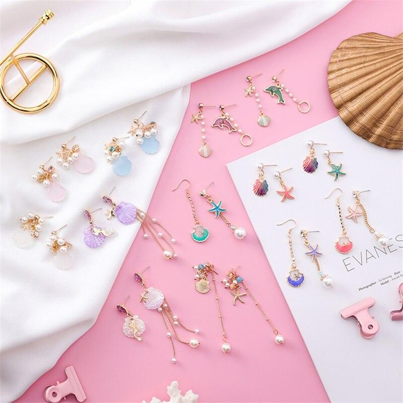 Harajuku Asymmetrical Cartoonish  Mermaid Starfish Shell & Pearl Earrings