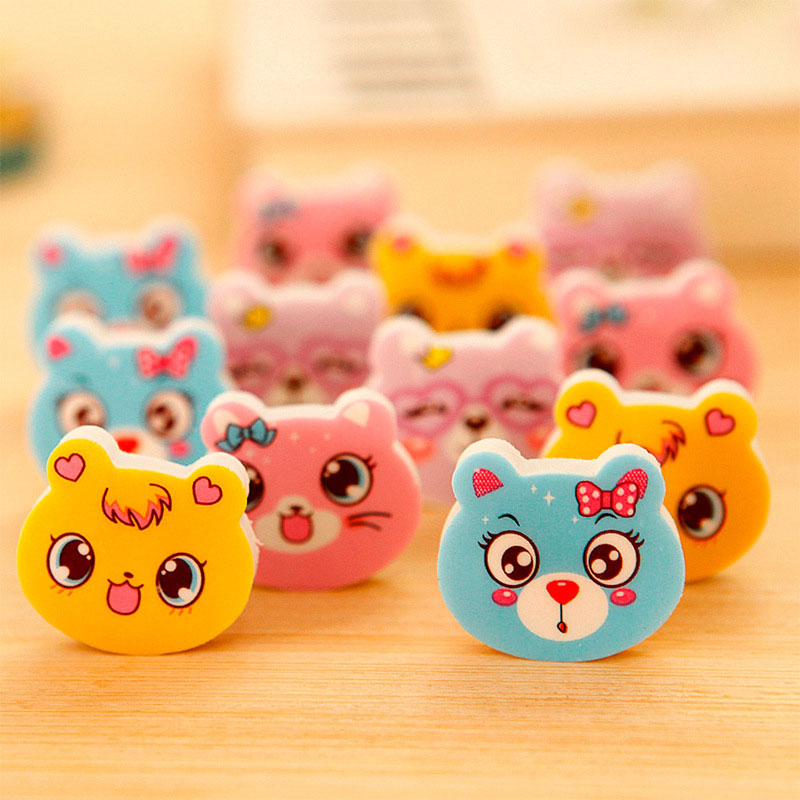 Student Stationery Cartoon Cat Expression Rubber Eraser  Teaching Kindergarten Pupils Award Prize 120pcs/lot